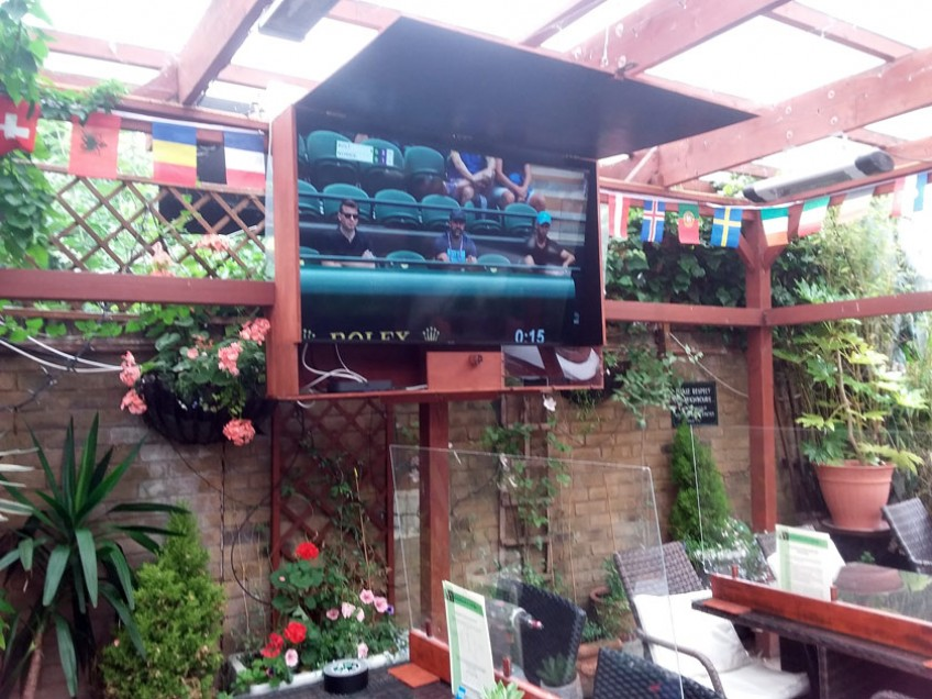 We now have a new big TV in the beer garden