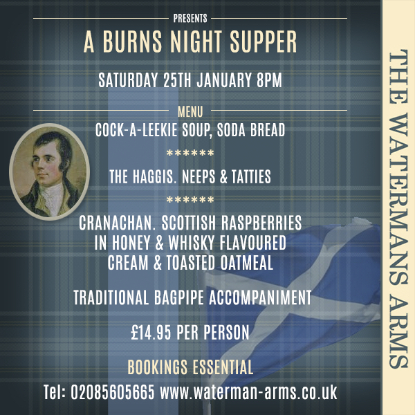 Burns Night Supper Saturday 25th January 8pm