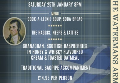 Burns Night Supper Saturday 25th January 8pm